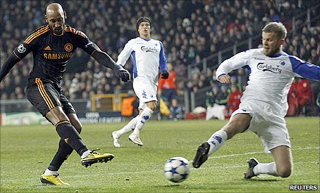 Chelsea striker Nicolas Anelka (left) powers in a shot to put Chelsea in front against Copenhagen