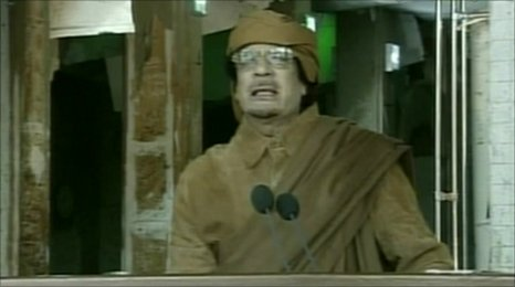 Libyan leader Muammar Gaddafi on state TV (22 Feb 2011)