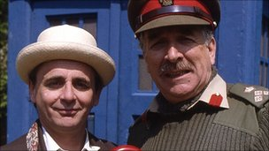 Nicholas Courtney (l) with Sylvester McCoy