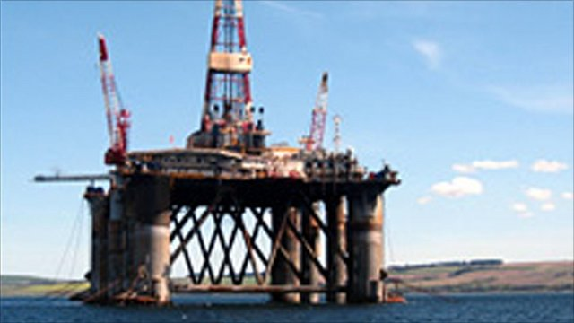 A drilling rig near the Scottish Highlands, the Ocean Guardian