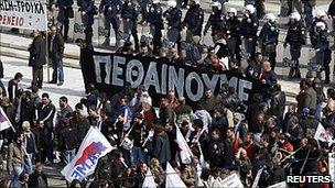 Athens protest rally and police cordon, 23 Feb 11