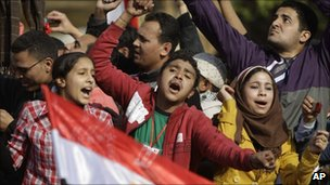 Young Egyptians in Tahrir Square, Cairo (12 Jan 2011)