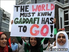Libyans protesting against Colonel Muammar Gaddafi