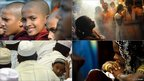 Clockwise: Young Buddhist monks; Hindu women in a temple; a Christian prays; a gathering of Muslims 