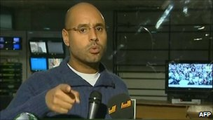 Saif al-Islam Gaddafi on Libyan TV (23 Feb 2011)