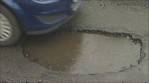 Pothole in Hexham