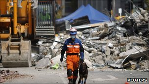 A Japanese rescue worker in Christchurch on 24 February 2011