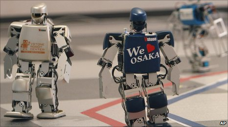 Robots compete in the marathon in Osaka Japan on 24 February 2011