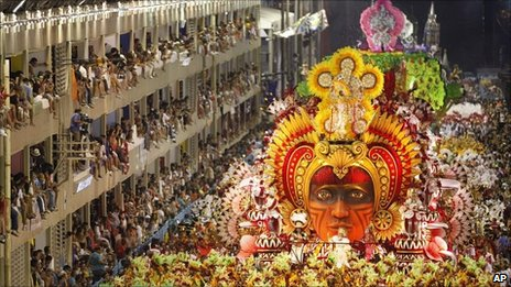 Salgueiro samba school parades at the sambardrome in Rio during  the 2010 Carnival
