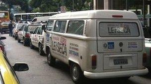 Lei Seca branded vans on the streets of Rio de Janeiro