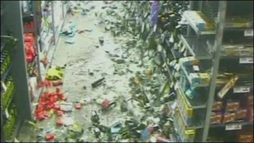 Supermarket CCTV footage of an earthquake hitting