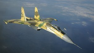 A Russian Su-35 jet fighter (image from Sukhoi website)