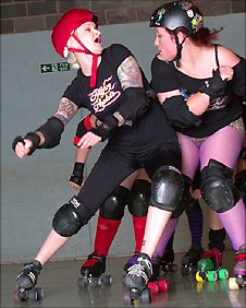 Nottingham roller derby team Hellfire Harlots in training. Photo by Miss Rain