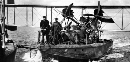 A 1918 Thorneycroft Seaplane Lighter in action