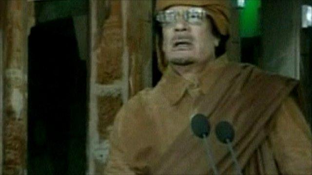 Libyan leader Col Muammar Gaddafi