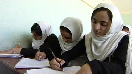 Girls in class in Afghanistan