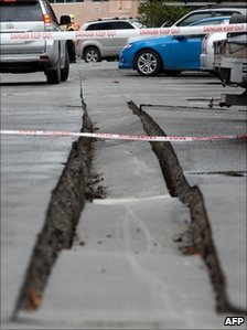 Large crack in a road in Christchurch (25 February 2011)