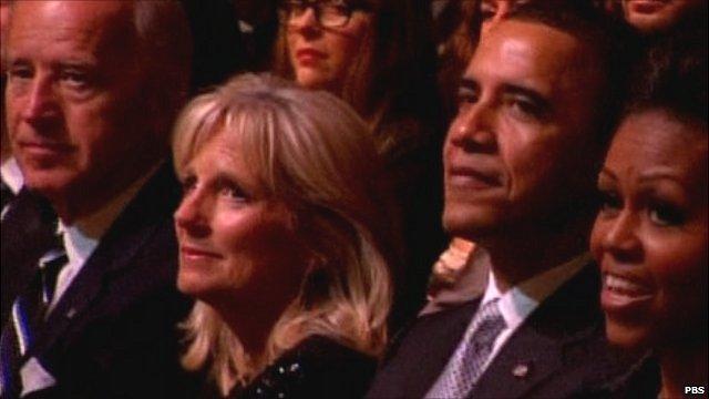 Vice President Joe Biden, Dr Jill Biden, President Barack Obama and First Lady Michelle Obama (l-r)