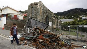 A smashed chapel in Lyttelton, on 24 February 2011