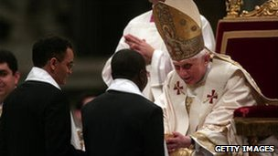 Pope Benedict blesses Magdi Allam (left) after his baptism, 22 March 2008