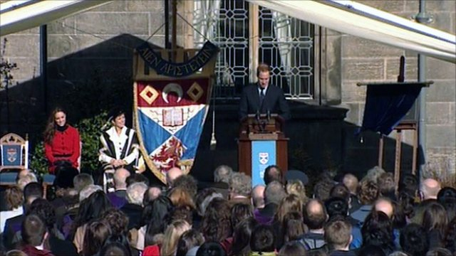 Prince William at the launch of the University of St Andrews anniversary celebrations