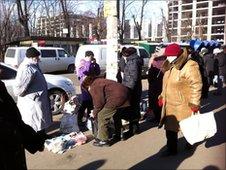 Market shoppers in Ukraine