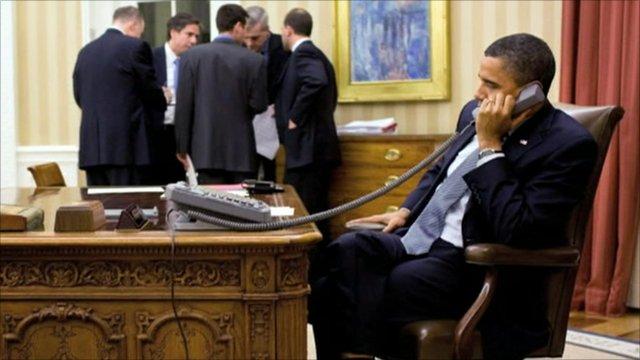 Barack Obama on the telephone