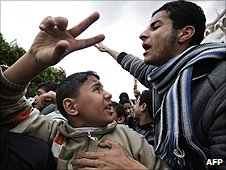 Anti-Gaddafi demonstrators in Derna, Libya (23 February 2011)
