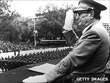 President Tito salutes at a military parade in 1975