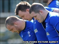 Wales' front row of Craig Mitchell, Matthew Rees and Paul James