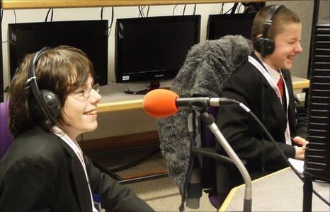 School Reporters in BBC Manchester studio
