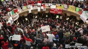 Protesters in the Wisconsin state capitol