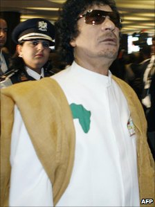 Muammar Gaddafi in Addis Ababa in Ethiopia in 2008