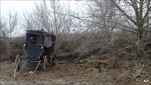 The remains of an Amish buggy involved in a fatal accident.