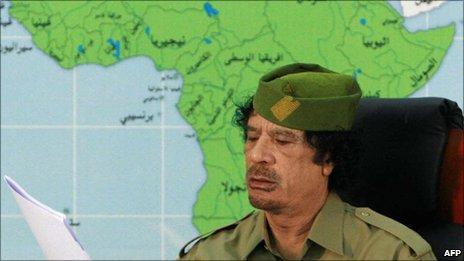 Col Muammar Gaddafi in Addis Ababa, Ethiopia, 2008