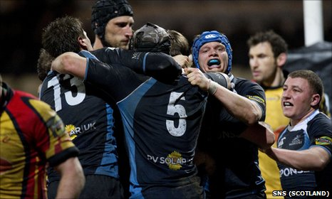 Glasgow celebrate their last-gasp try at Firhill