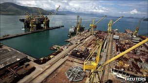 Aerial view of the construction of a Petrobras oil platform in Angra dos Reis.