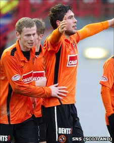 Andis Shala scored a late equaliser for Dundee United