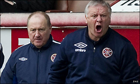 Hearts manager Jim Jefferies (right) and his assistant Billy Brown