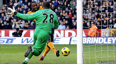 Sylvan Ebanks-Blake gleefully smases home the third Wolves goal