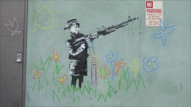 Banksy street drawing