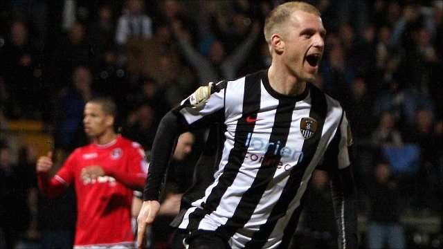 Neal Bishop celebrates scoring for Notts County