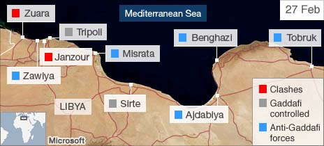 Map of key towns in Libya