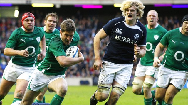 Ronan O'Gara breaks through to score a try for Ireland