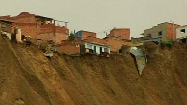 Buildings on edge of landslide