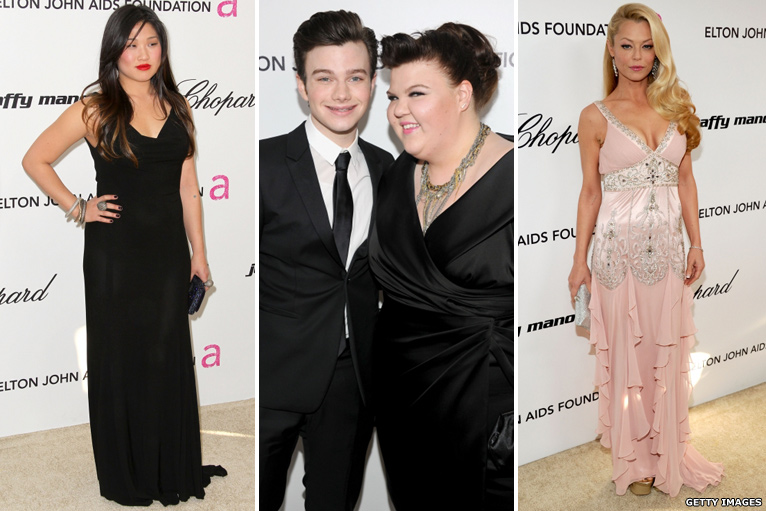 Jenna Ushkowitz, Chris Colfer, Ashley Fink and Charlotte Ross