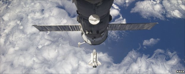 Discovery prepares to dock at the International Space Station
