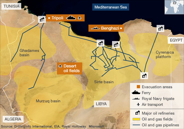 Map showing British evacuation routes from Libya