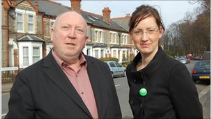 Green MEP Keith Taylor and Green Party candidate for Reading's Park ward Melanie Eastwood