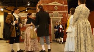 Performers in period dress rehearse their musical production 'The Miracle of America'